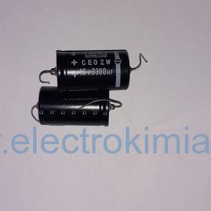 خازن ۱۶ ولت ۳۳۰۰ میکروفاراد دوسر سیم الکترولیتی
